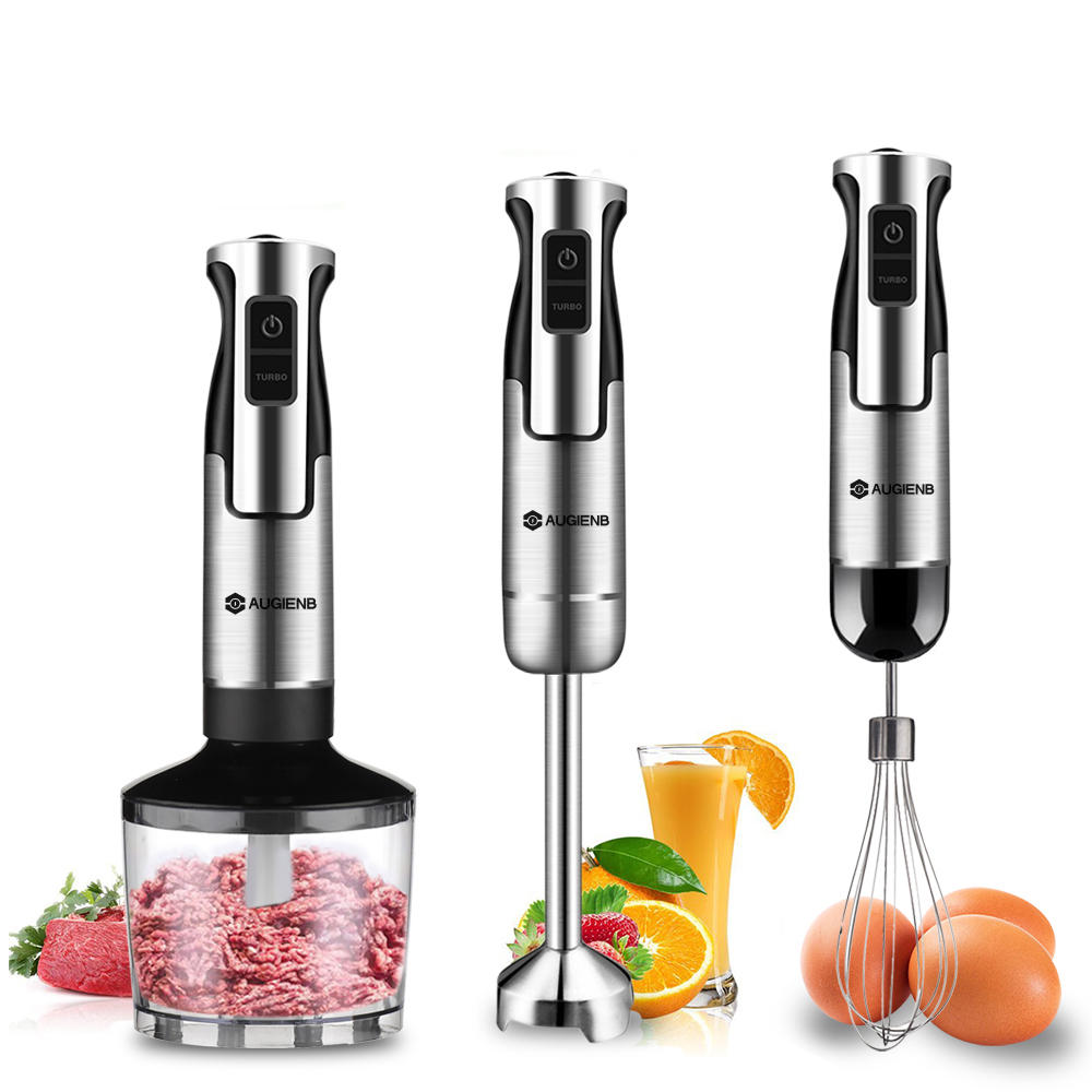 AUGIENB HB-105SD 4-In-1 غير القابل للصدأ Steel Immersion Hand Blender Set 600W 2 Switch Options with 8 Variable سرعة مراقبة Mixer