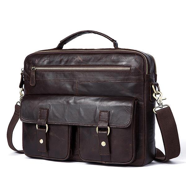 Men Leather Business Laptop Briefcase Vintage Crossbody Shoulder Bag