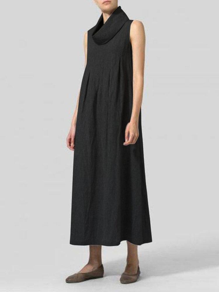 Risultati immagini per Vintage-Women-Cotton-Loose-Solid-Color-Sleeveless-Turtle-Neck-Dress