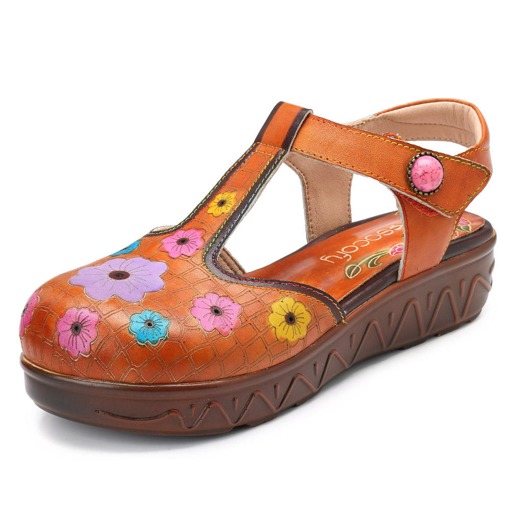 81d9cb4b46f9 socofy genuine leather handmade flower platform sandals at Banggood sold out