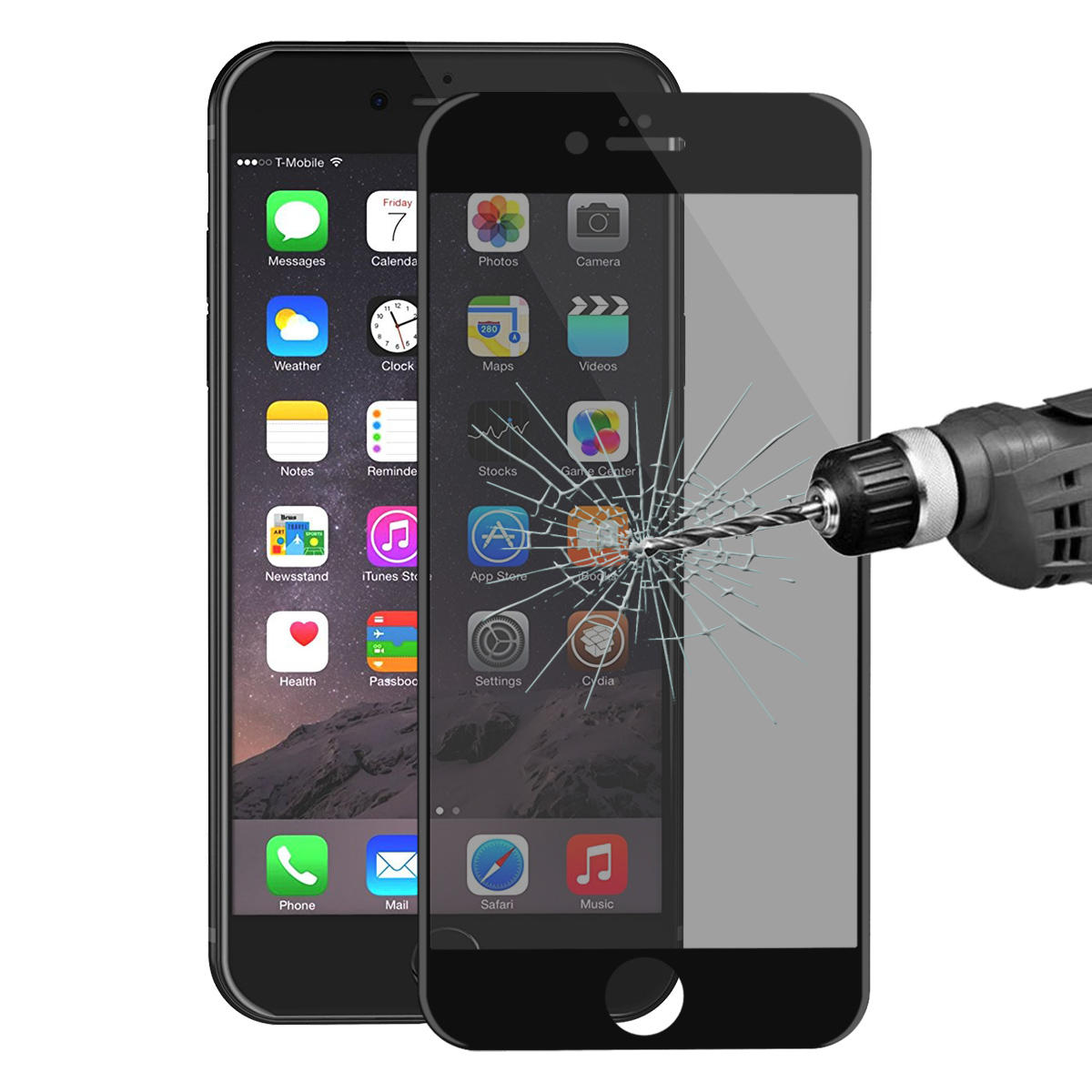 ENKAY Anti Spy 3D Arc Edge 0.26mm 9H Carbon Fiber Tempered Glass Screen Protector for iPhone 6 6s