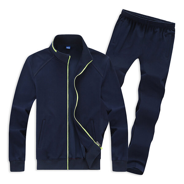 3ce521ba470 Mens Casual Plus Size Solid Color Tracksuits Stand Collar Cotton Sport  Suits - Navy 2XL COD