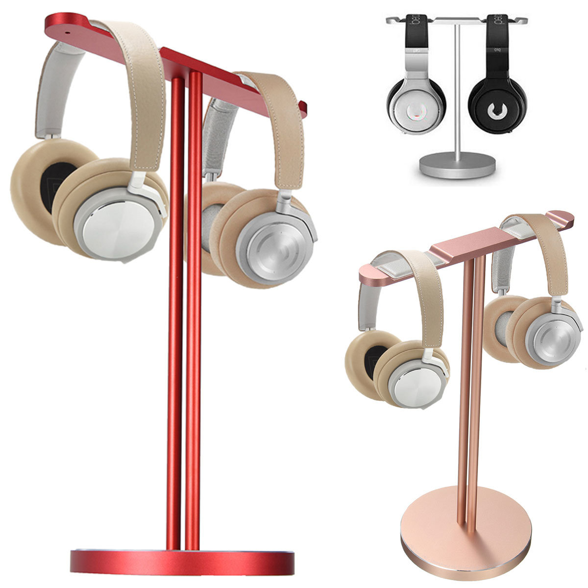 Aluminum Alloy Double Stick Display Stand Holder Storage Holder For Headphone Headset