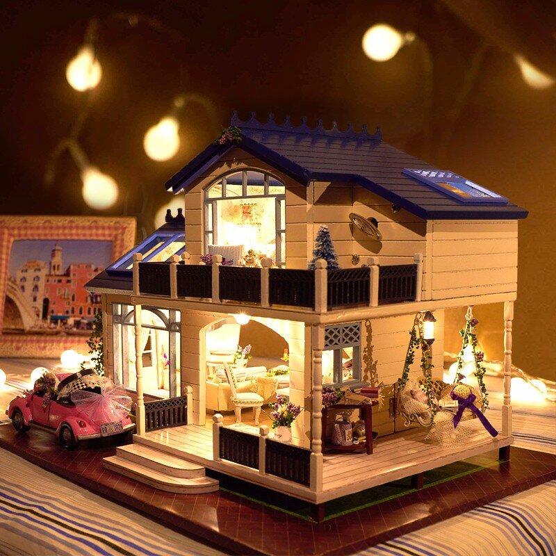 Cuteroom 1: 24DIY Artisanat Voix Miniature Activée LED Lumière & Musique avec Couverture Provence Maison de poupée