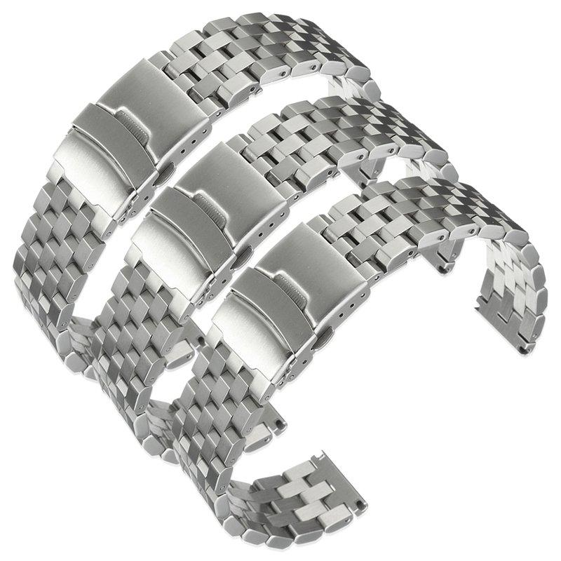 20~24mm Silver Stainless Steel Strap Curved End Metal Bracelet Wrist Watch Band