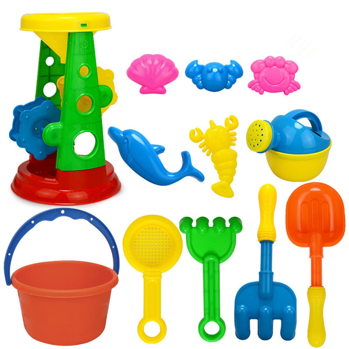 12Pcs/Set Summer Beach Sand Play Toys Sand Water Toys Kids Seaside Bucket Shovel Rake Kit Play Toys