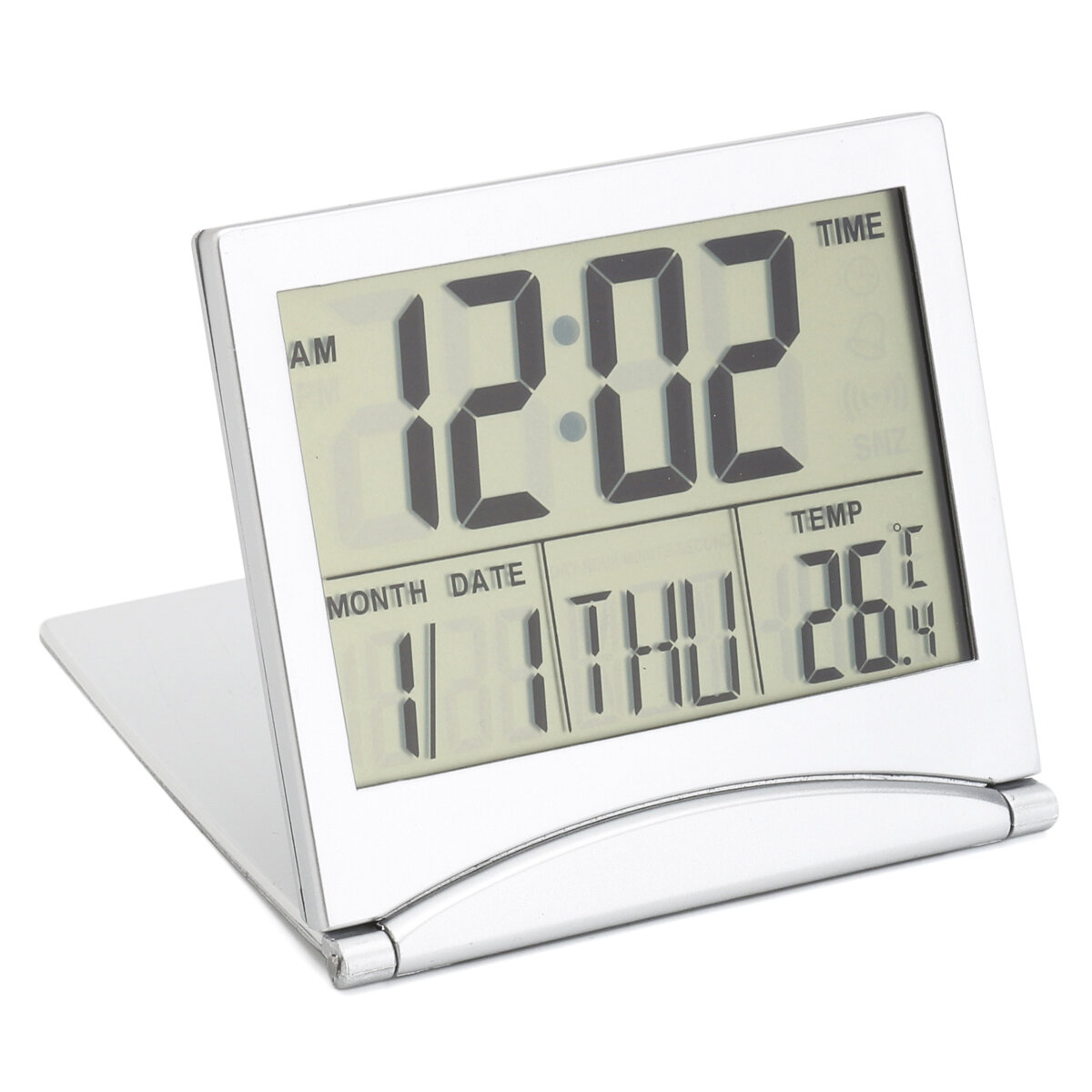 Digital Lcd Screen Travel Alarm Clocks Table Desk Thermometer Timer