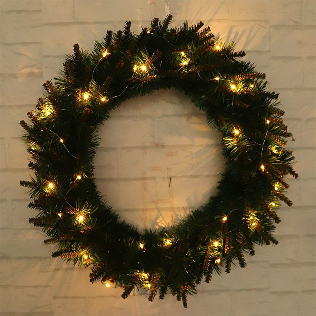 Led Light Christmas Wreath Tree Door Wall Hanging Party Garland