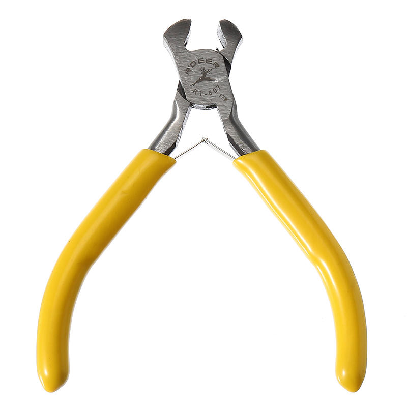 125mm Carbon Steel Yellow Mini Nail Pliers Oblique Mouth for DIY Jewelry Making Craft Tool