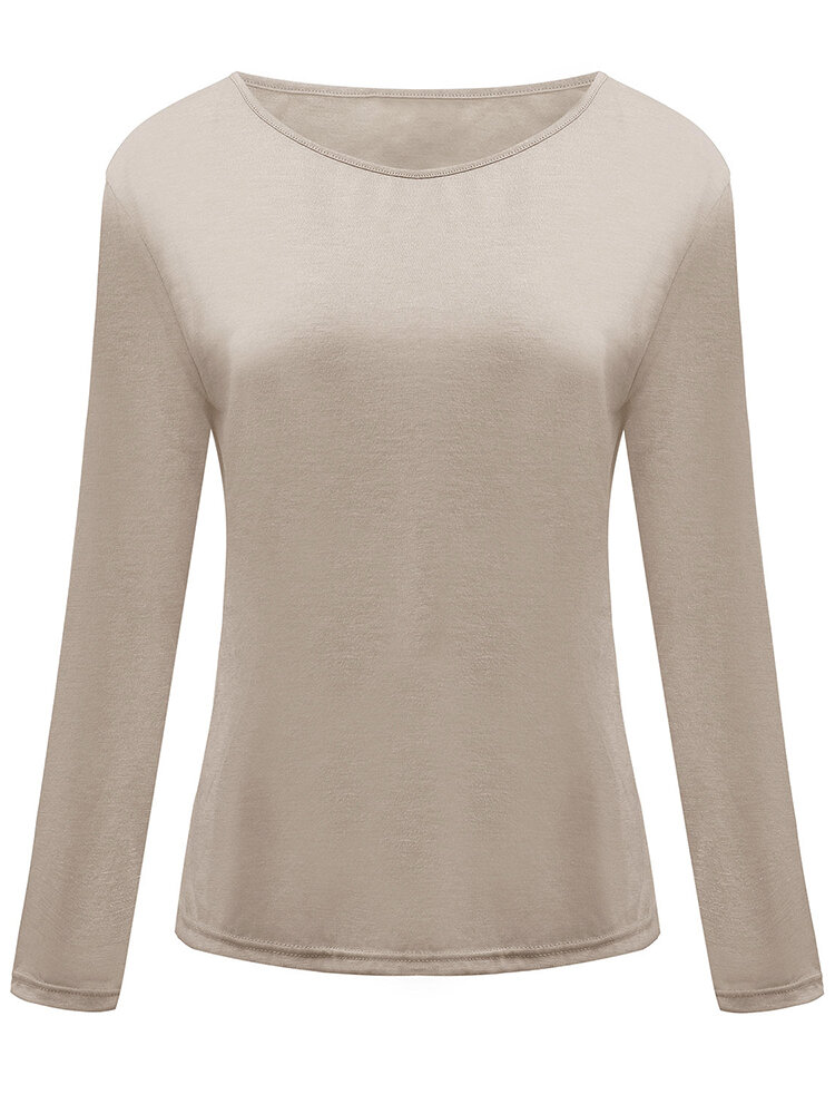 fd37f89236fe3 basic loose beige long sleeve round neck women t-shirt at Banggood sold out