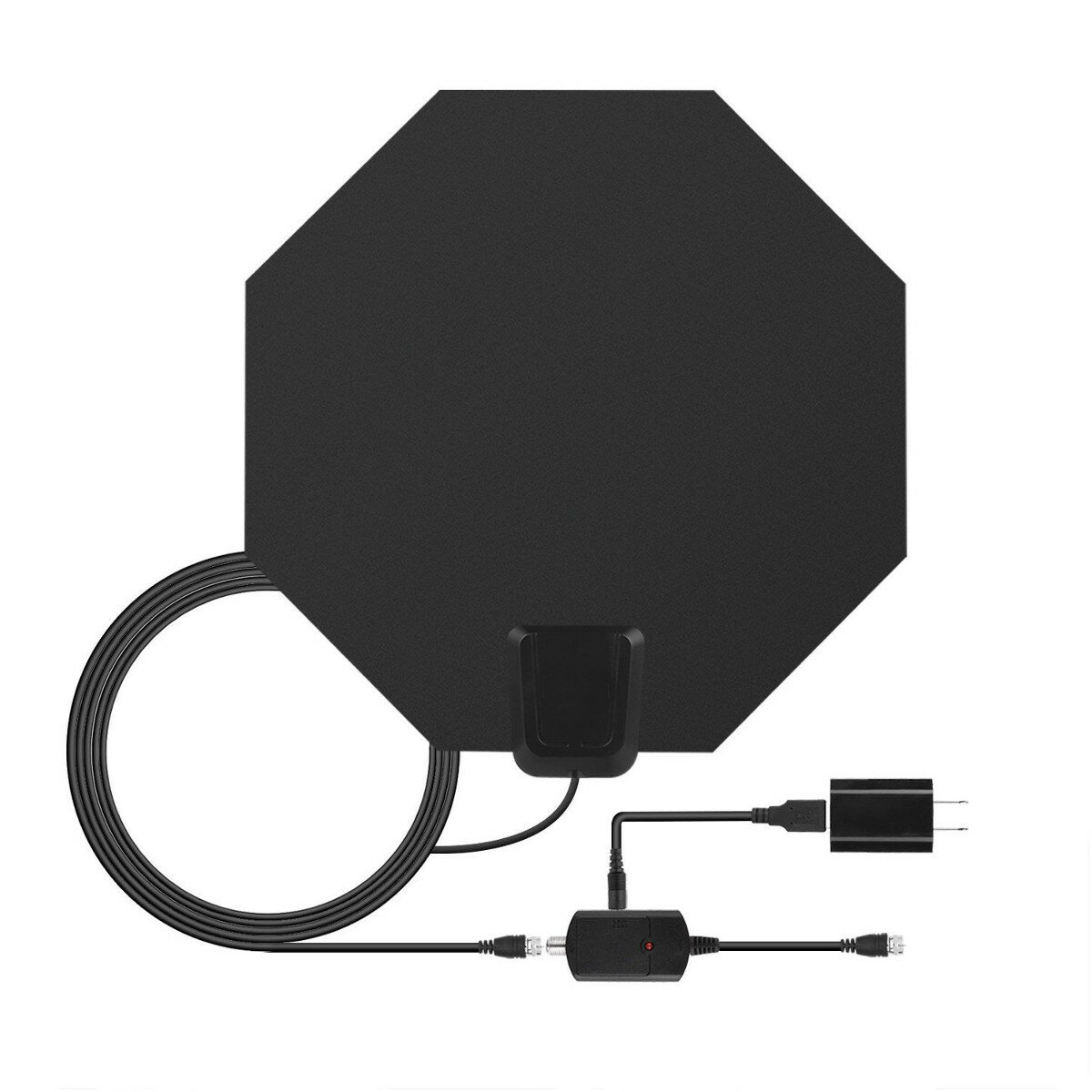 TV 100 Miles Range Flat HD Digital Indoor Amplified TV Antenna with Amplifier