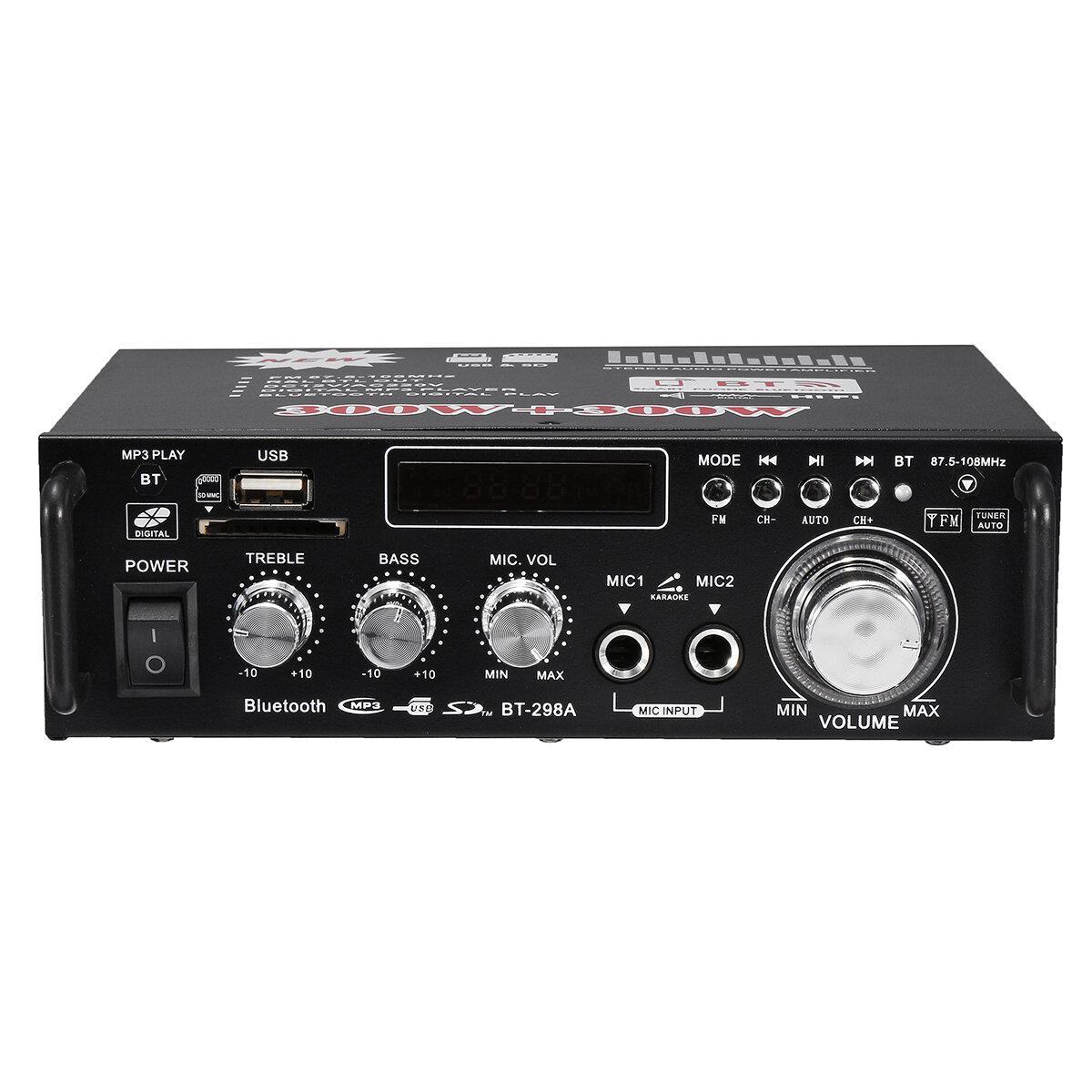 BT-298A 12V 220V HIFI Amplificateur de puissance audio stéréo Bluetooth FM Radio 2CH 600W
