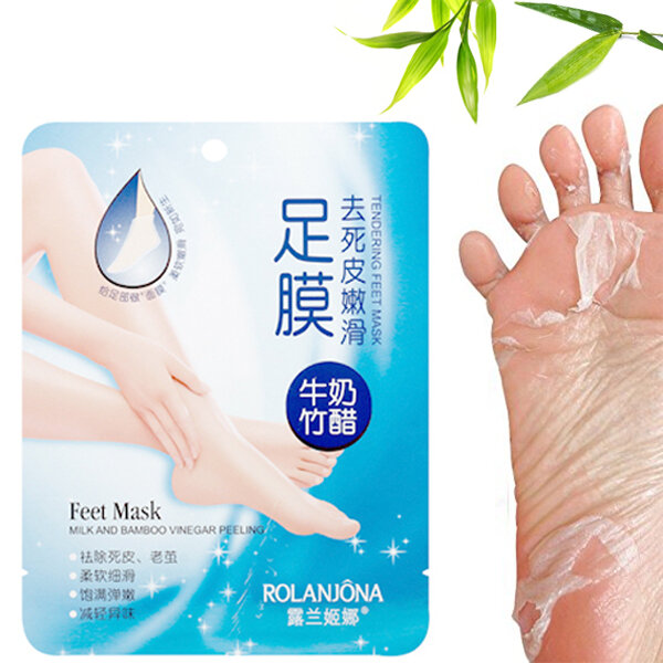 ROLANJONA Milk Bamboo Feet Mask Baby Foot Peeling Masques Deep Exfoliant Réparation Squishy