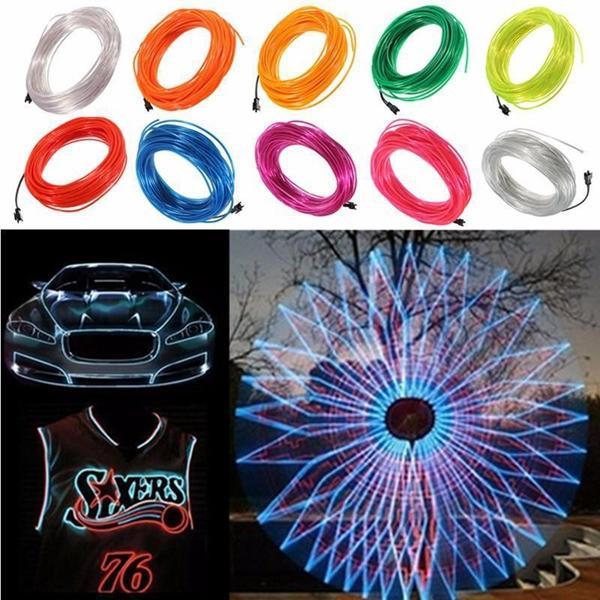 20M EL Led Flexible Soft Tube Wire Neon Glow Car Rope Strip Light ...