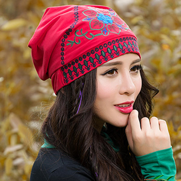 Women Ethnic Embroidery Cotton Beanie Hat Vintage Flower Pattern Elastic  Adjustable Caps COD 45c3906a61b