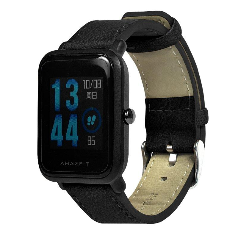 20mm Leather Watch Band Strap With Spring Bars For Huami Amazfit Bip