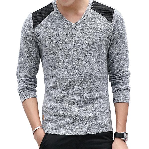 ฤดูใบไม้ร่วงของผู้ชาย V-collar เสื้อกันหนาวเสื้อสเว็ตของแข็งสี บาง Fit สบาย ๆ ถักเสื้อกันหนาว