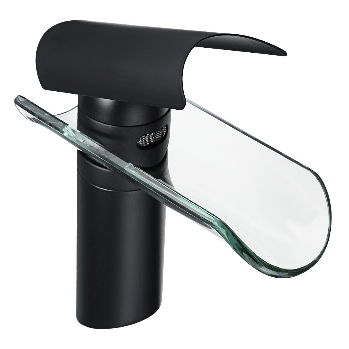 Black Brass Glass Waterfall Faucet Spout Counter Top Basin Mixer Tap Sink Bath