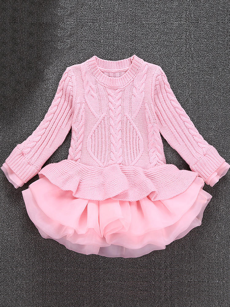 Thick Warm Winter Christmas Wedding Party Knitted Patchwork Lace Girls Children Dress