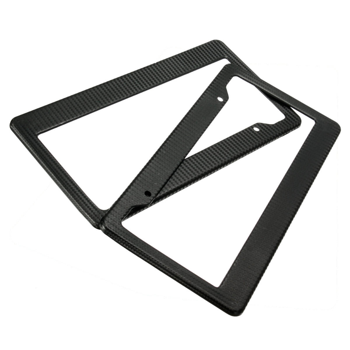 2pcs Universal Black Painted Style Front Rear License Plate Frames Tag Cover