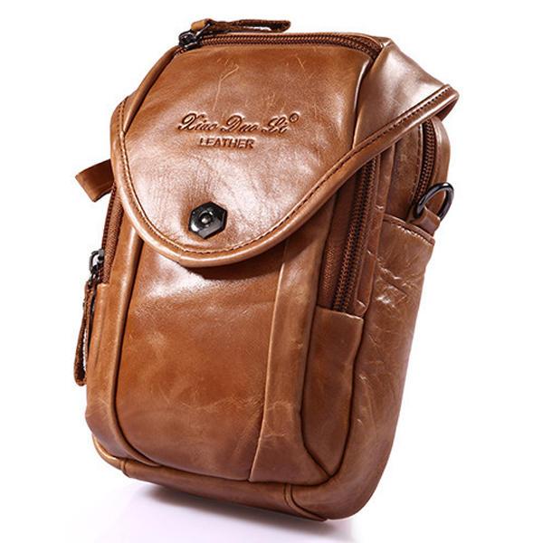 Multifunction Small Fashion Waist Bag Men Leather Belt Phone Single Shoulder Crossbody