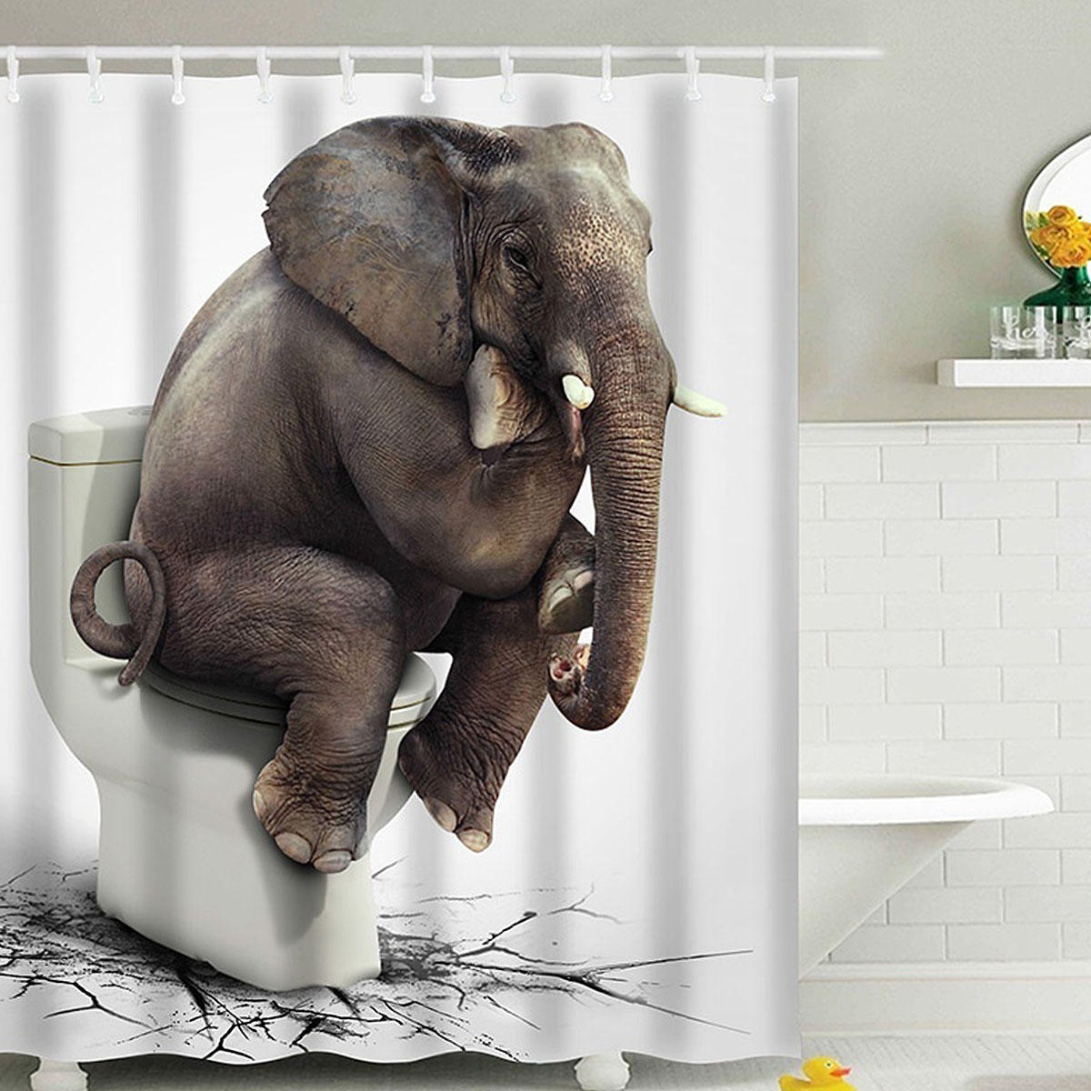 180x180CM Elephant Waterproof Bathroom Shower Curtain 12 Hooks COD