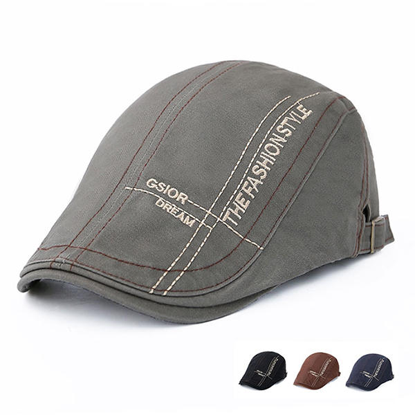 Men Cotton Letter Beret Caps Outdoor Buckle Adjustable Sport Newsboy Hat