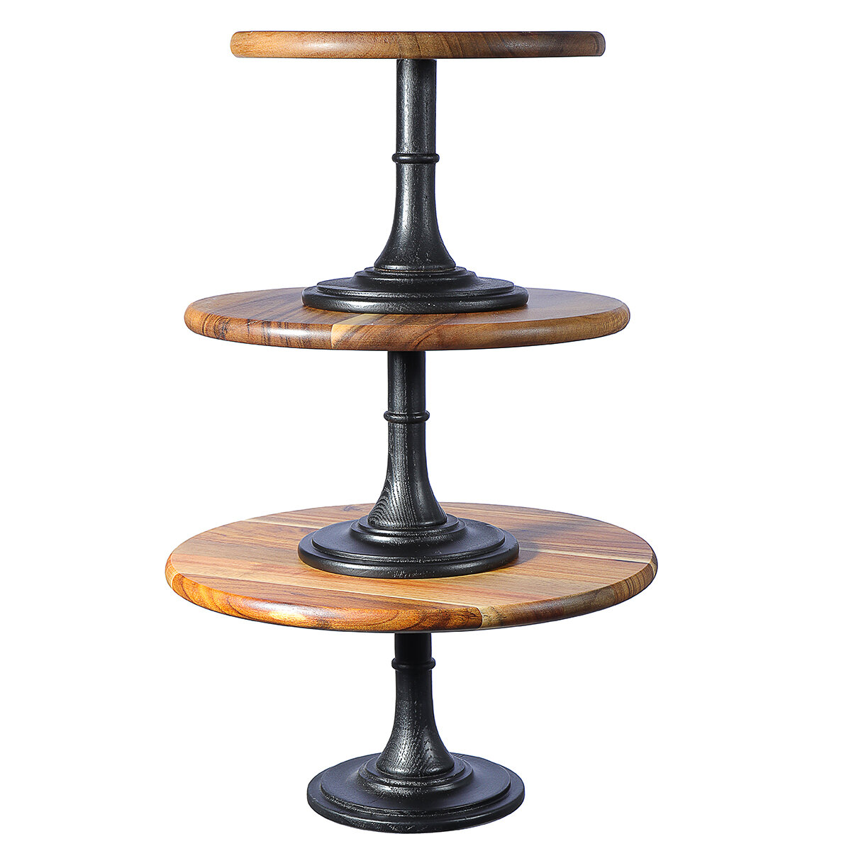 Round Cake Stand Pedestal Dessert Food Display Wedding Party Holder Wood Decorations 3 Sizes Cod