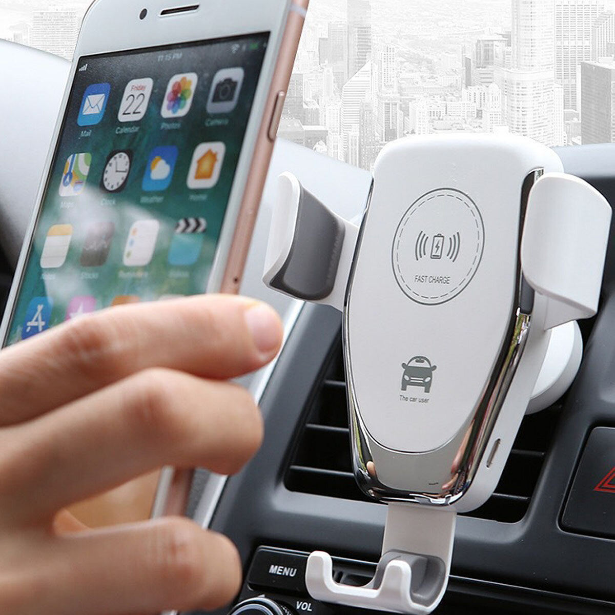 10W Qi Car Wireless Fast Charger Phone Holder Gravity Bracket Mount for iPhone XS Max S9