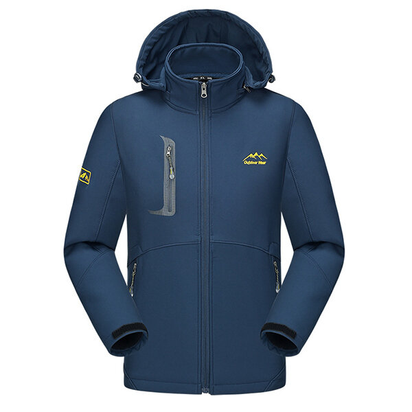 Mens Outdoor Sports Soft Shell Waterproof Windproof Hood Removable Velvet Liner Jackets