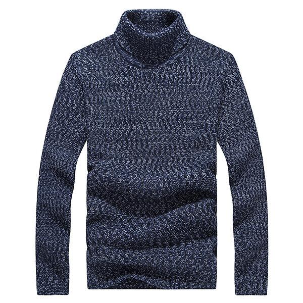 Mens inverno caldo dolcevita maglione lavorato a maglia casuale slim fit pullover