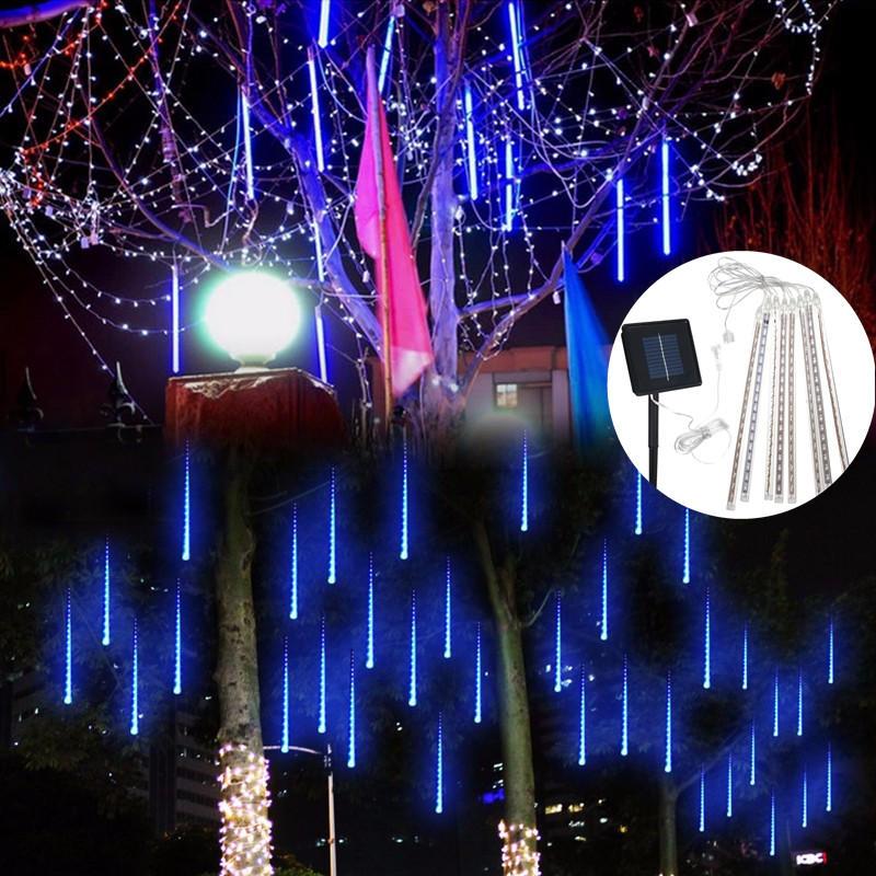ソーラーパワー30cm 8チューブLED流星シャワーレインガーデンツリーOutdooors HoliDayライト