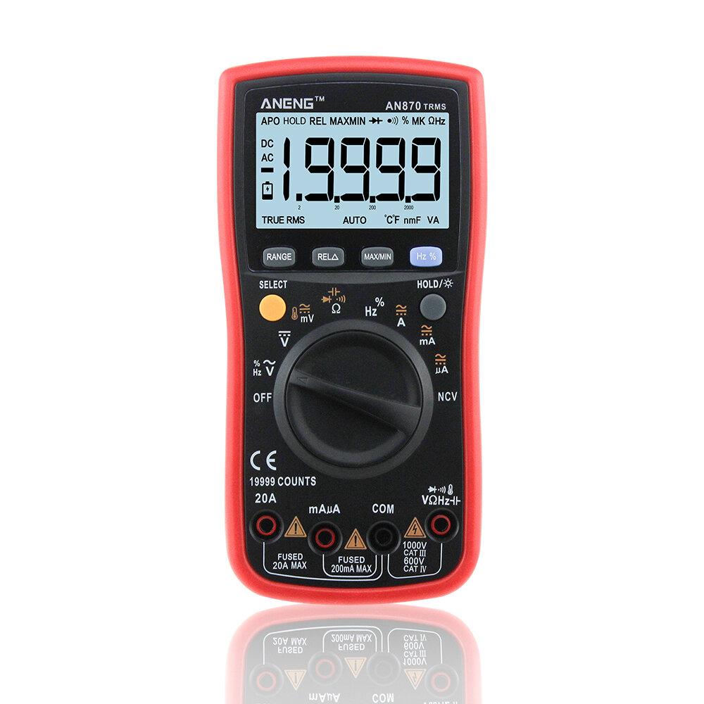 ANENG AN870 Otomatik Aralığı Dijital Hassas Multimetre 19999 Sayımlar True-RMS NCV Ohmmetre AC / DC Gerilim Ampermetre Transistör Test Cihazı