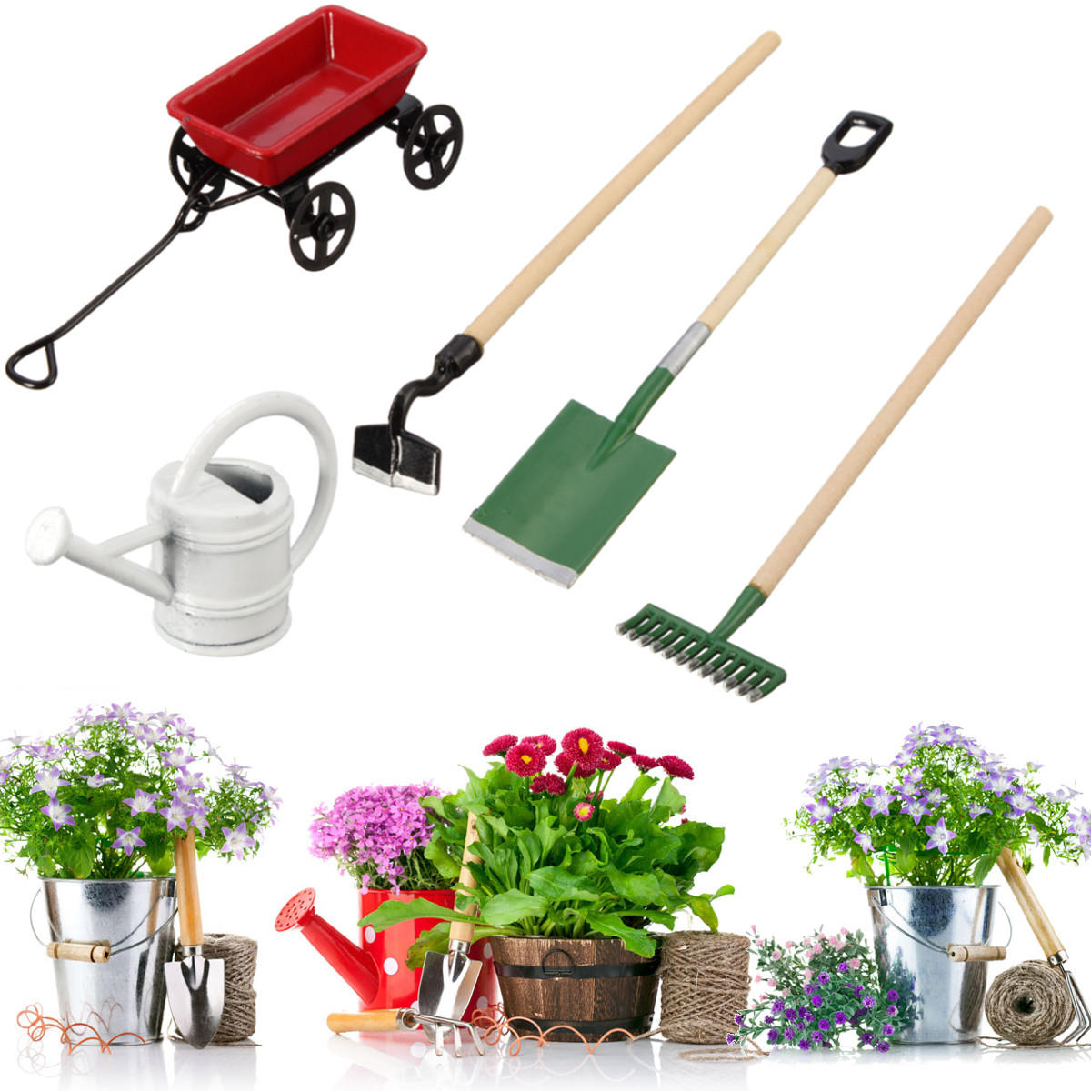 Metal Watering Can Pulling Cart Spade Rake Garden Tools Dollhouse Miniatures Accessories