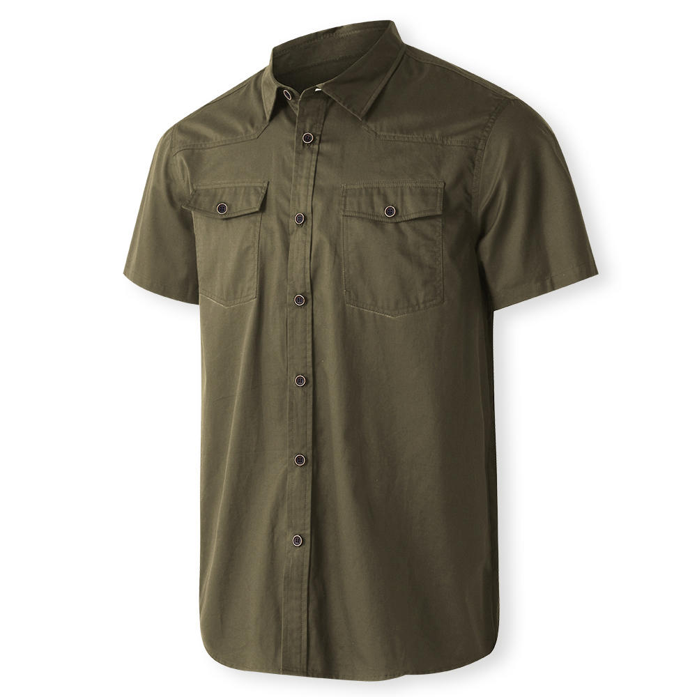 7f96d6815b3 two-sided mens outdoor double pocket solid color work shirts at Banggood