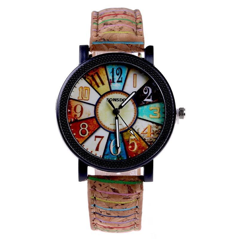 Fshion montre femme cadran de couleur rétro montre à quartz