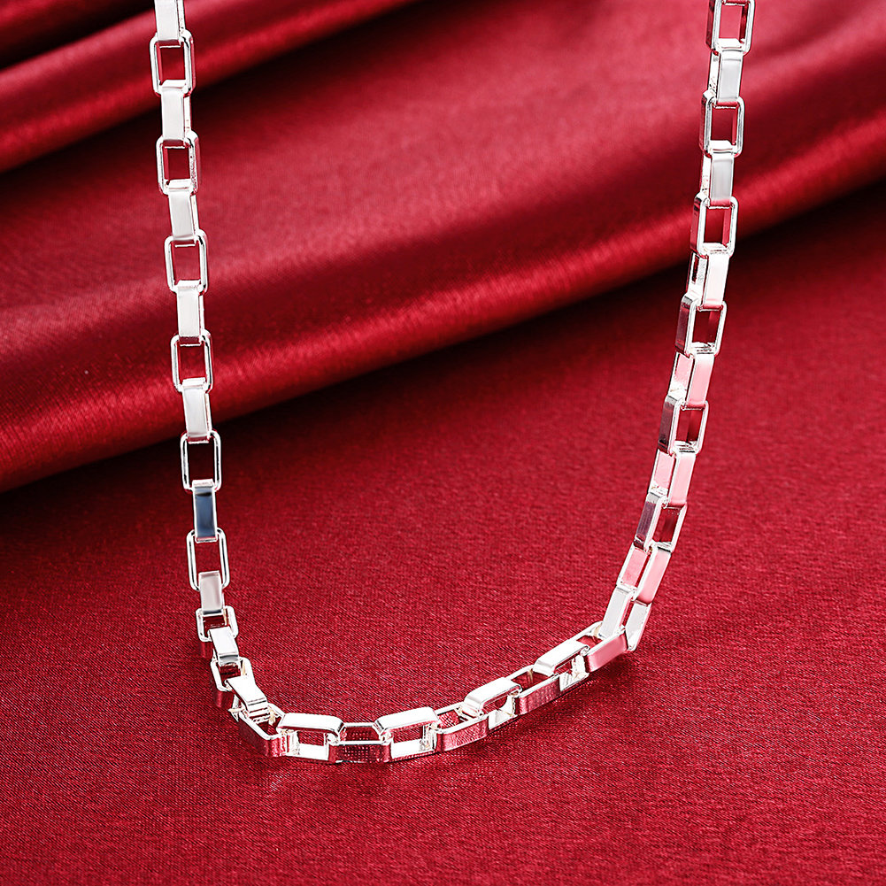 5mm 18inch Silver Lattice Necklace Simple Chain Jewelry