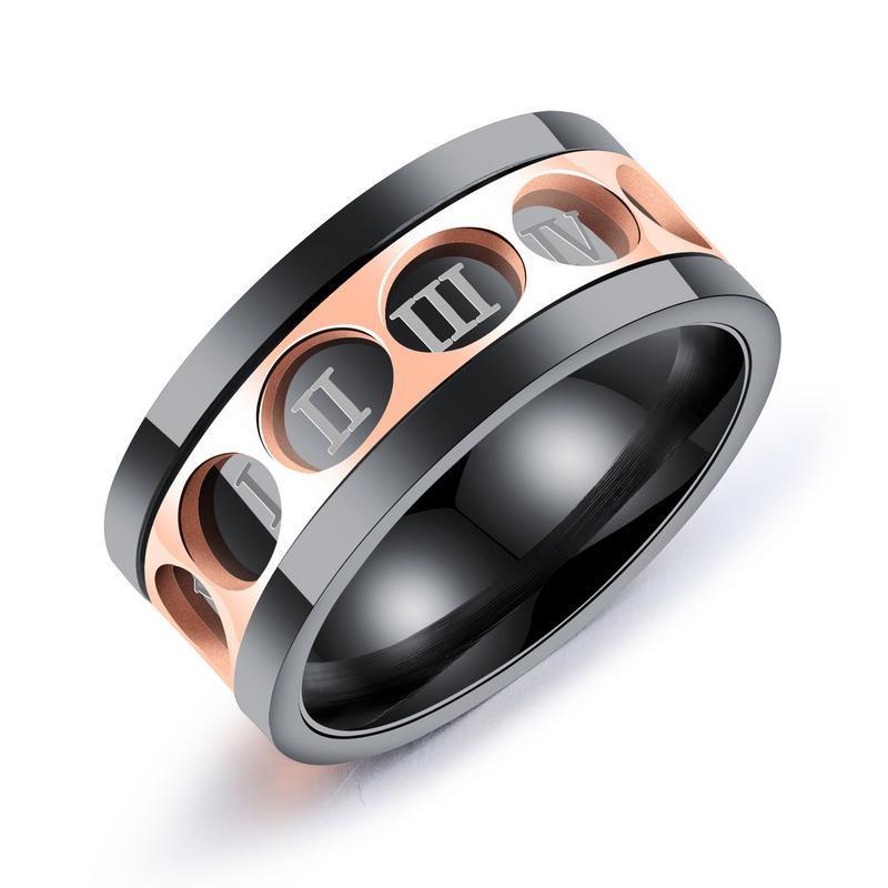 Anneau rotatif à la mode d'anneau d'acier inoxydable de douze anneaux de Rome Digital pour des hommes