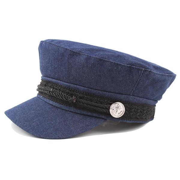I cappelli del berretto da notte del denim lavato delle donne ricoprono i  cappelli del poliziotto c23ee15ac65d