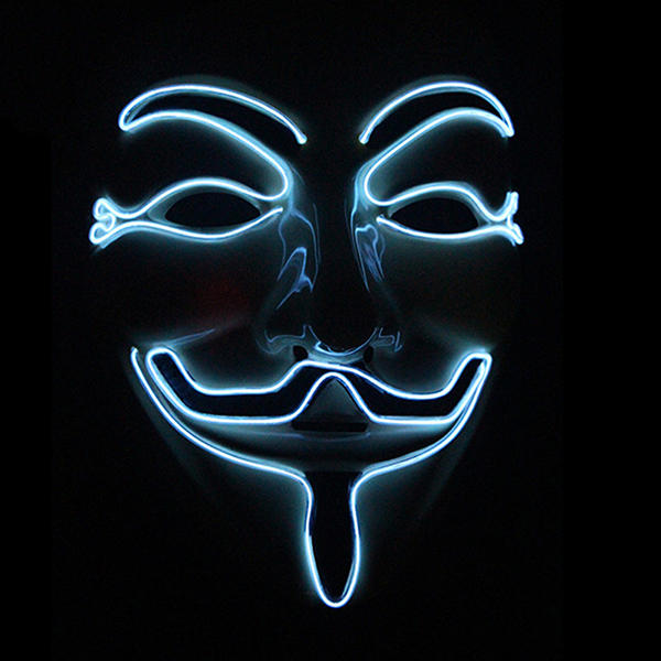 2e39ccc049b Halloween V-Vendetta Mask LED Luminous Flashing Face Mask Party Masks Light  Up Dance Halloween Cosplay COD