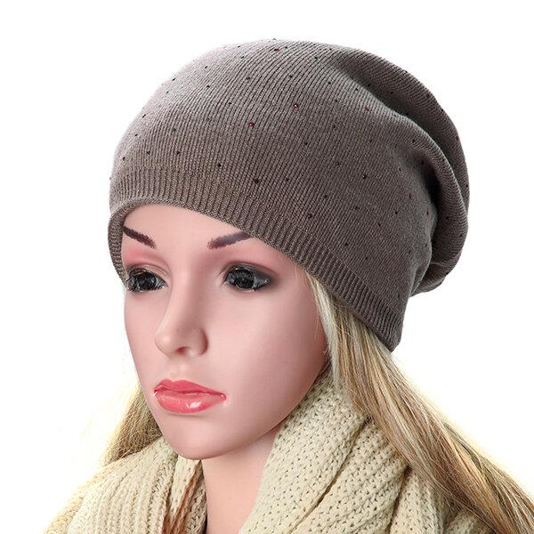 women cashmere knitted beanie hat rhinestones solid winter warm caps ... 24e18e51a