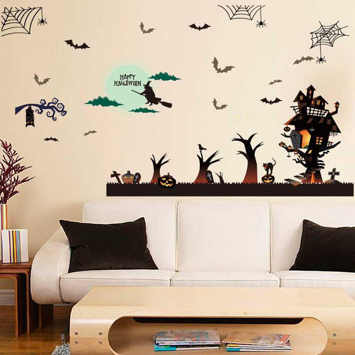 Bat Spider Web Wall Sticker For Home Window Decor At Banggood