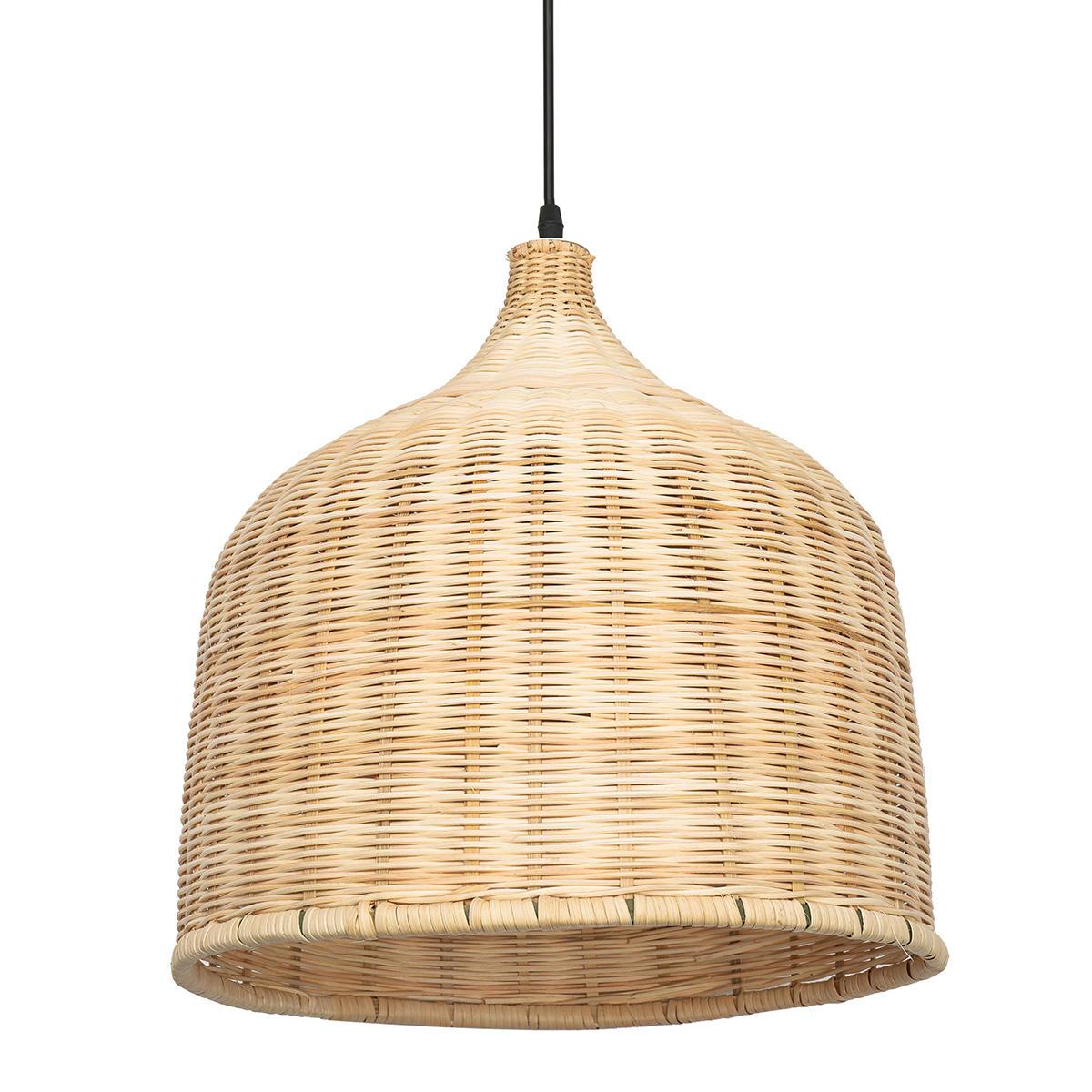 E27 Modern Rattan Chandelier Pendant Light Ceiling Lamp Cover for Home Indoor Decoration