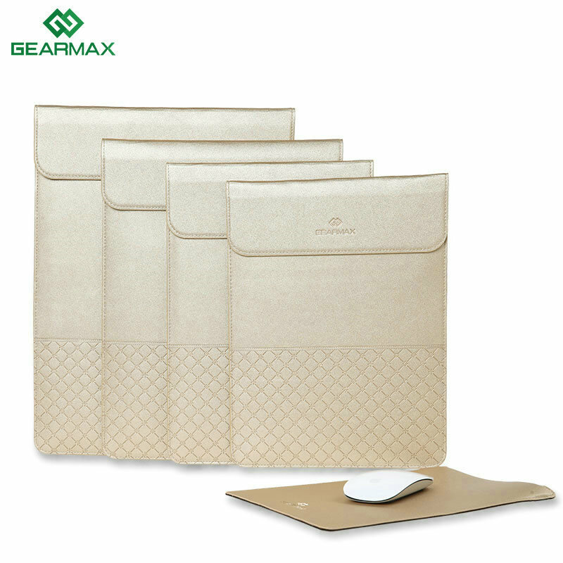 Gearmax 11.6 12 13.3 15.4 Inch Luxury Envelope Gold Casual PU Laptop Carry Hand Bag for Laptop iPad Macbook Air Pro