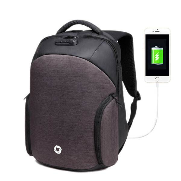 USB Charging Backpack Casual Anti-theft Computer Bag with Rainproof Cover & Combination lock