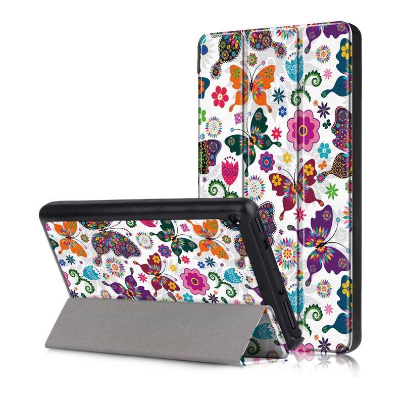 Tri Fold Pringting Tablet Caso Capa para New Fire HD 7 2019 Butterfly