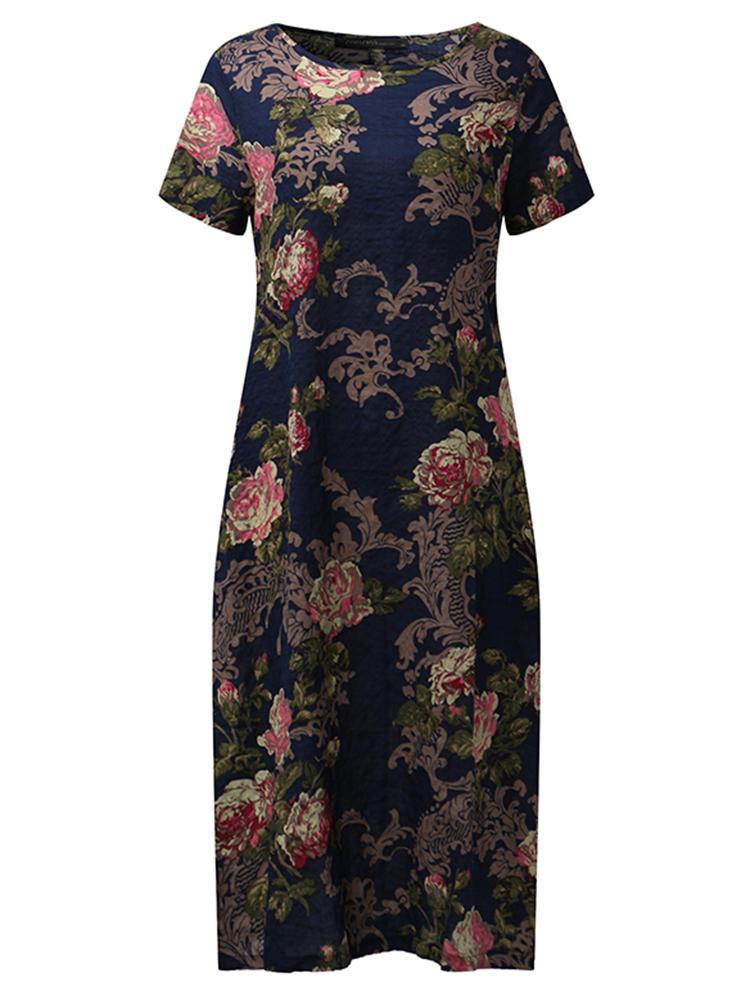 Vintage Short Sleeve Floral Printed O-neck Women Dress