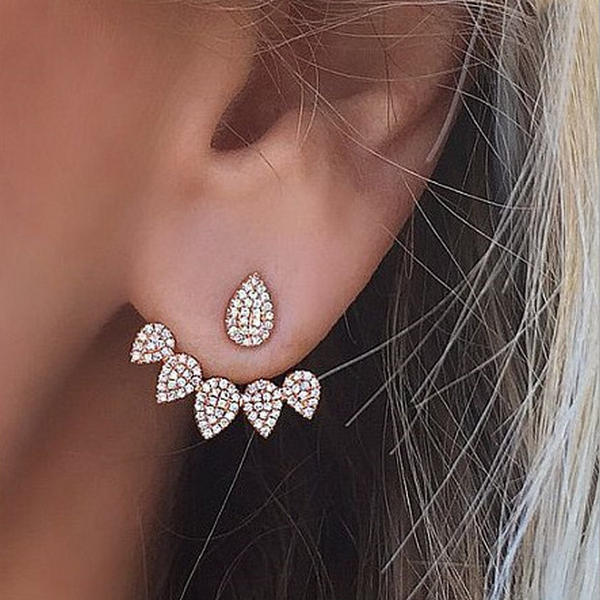 Trendy Flower Earrings Gold Silver Full Rhinestones Ear Stud Gift pour les femmes