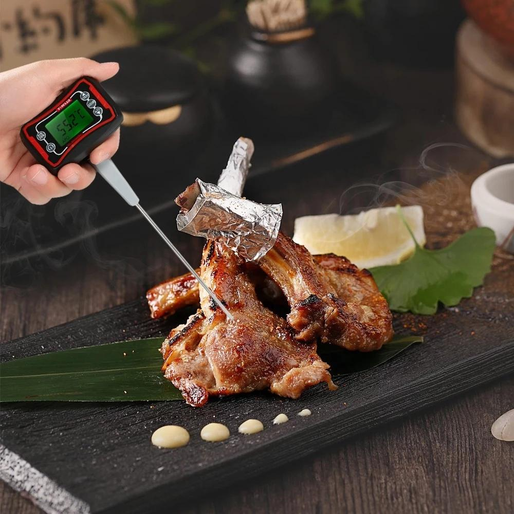Digital Food BBQ Cooking Thermometer Instant Read Pyrometer Temperature Gauge with Adjustable Probe LCD Backlit Display