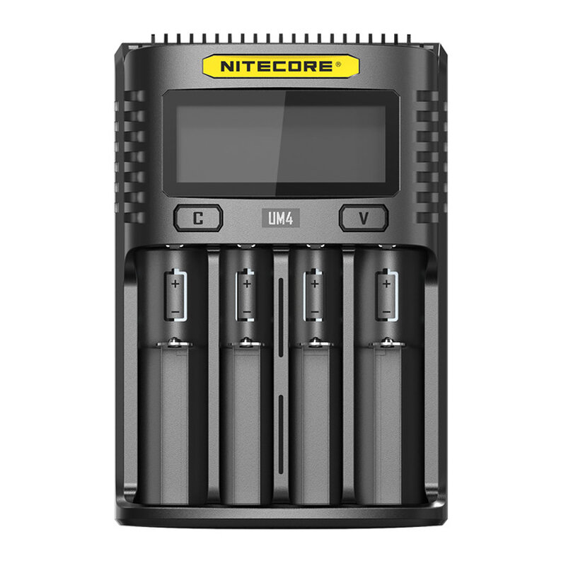 NITECORE UM4 LCD Screen Display Lithium Battery Charger 4-Slots USB Charging Smart Rapid Battery Charger
